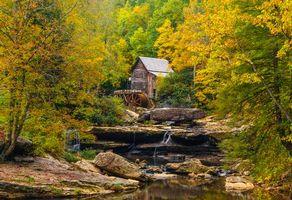 Фото бесплатно осень, мельница, водопад