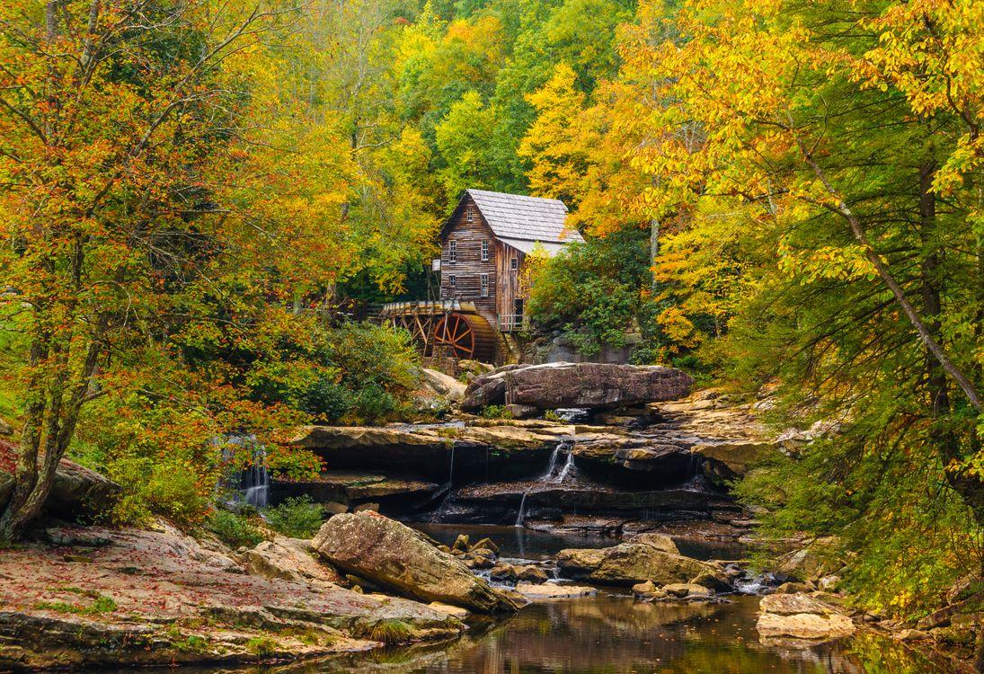 Фото бесплатно осень, мельница, водопад - на рабочий стол