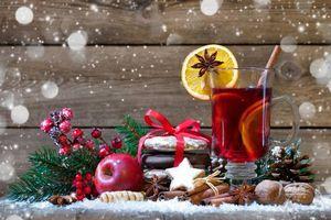 Фото бесплатно чай с лимоном, новогодний стол, фон