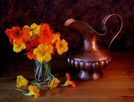 Photo free jug, flowers, still life