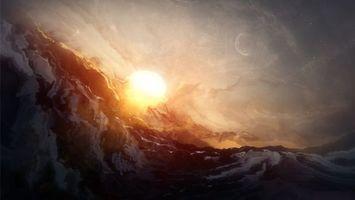 Обои солнце, гора, луна