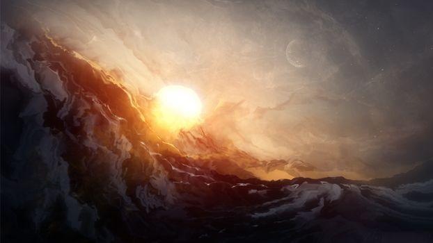 Фото бесплатно солнце, гора, луна