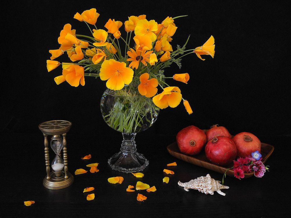 Фото бесплатно цветы, гранат, фрукты, натюрморт, разное