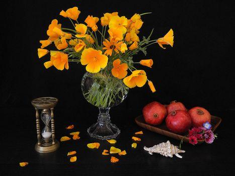 Заставки цветы, гранат, фрукты