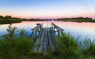 Фото бесплатно старый мостик, берег реки