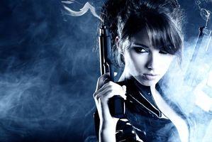 Бесплатные фото девушка, красотка, оружие, стиль