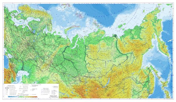 Photo free Russia Physical map, map map, terrain