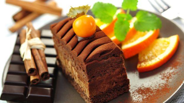 Photo free plate, cake, chocolate