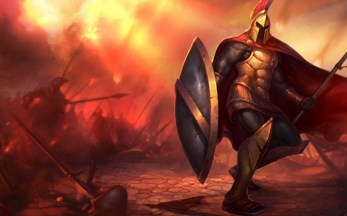 Фото бесплатно бой, воин, рыцарь, доспехи, щит, шлем, копье, огонь, мультфильмы