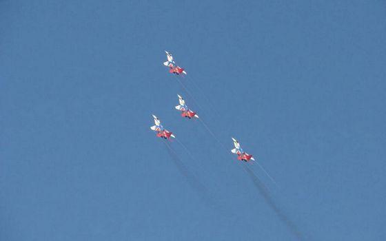 Photo free airplanes, aerobatic team, flight