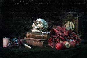 Обои книги, яблоки, часы, череп, цветы, натюрморт