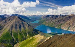 Фото бесплатно озера, горы, горизонт, вершины, снег, небо, облака