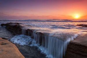 Бесплатные фото закат, море, скалы, волны, водопад, пейзаж