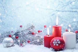 Фото бесплатно свеча, новогодние обои, новый год