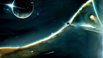 Photo free planets, a black hole, a burst of radiation
