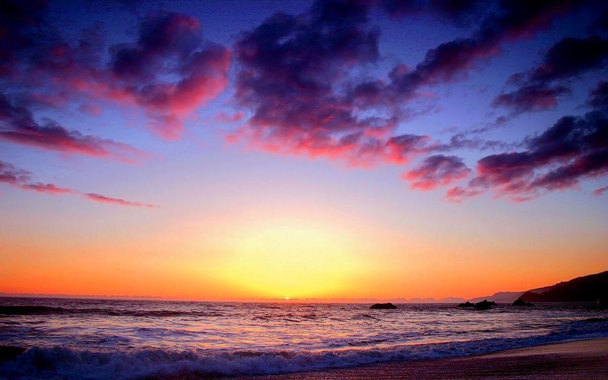 Фото бесплатно берег, море, волны, горизонт, солнце, закат, небо, облака, пейзажи