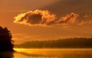 Бесплатные фото лес,деревья,озеро,дымка,закат,оранжевый,облака