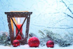 Фото бесплатно Новогодние обои, элементы, свеча