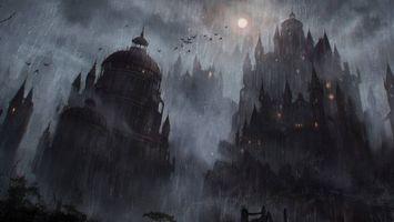 Обои страшный замок, луна, ночь, летучие мыши