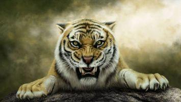 Фото бесплатно art, тигр, оскал