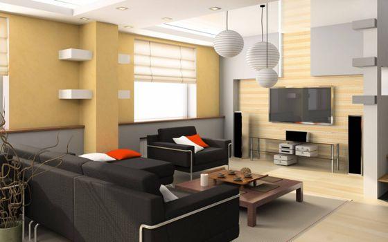 Photo free amazing interior, sofa, table