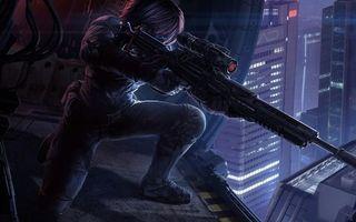 Бесплатные фото Арт,челоек,черный,костюм,винтовка,снайпер,прицел