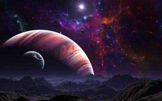 Заставки космос,планеты,поверхность,горы,звезды,свечение