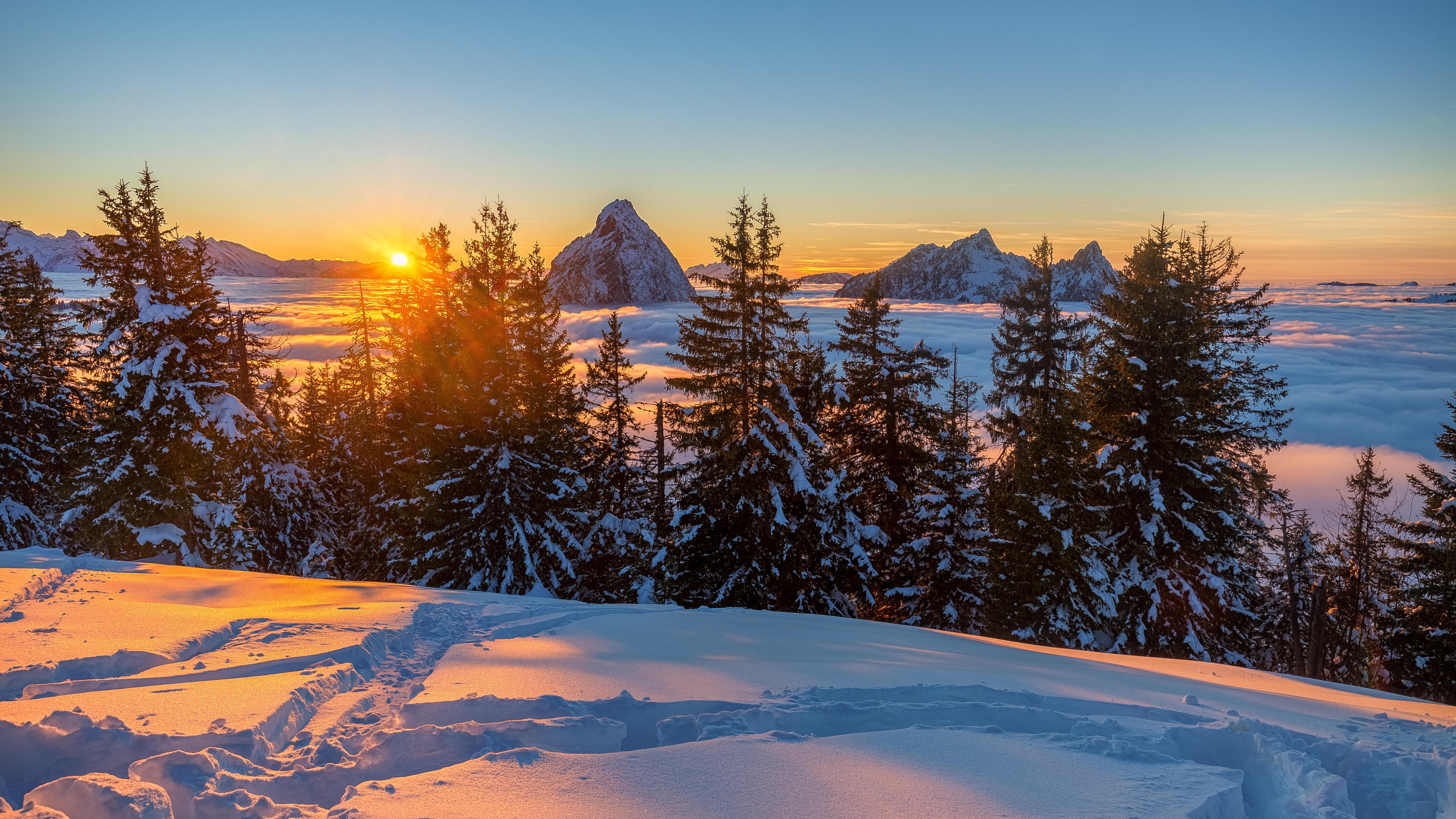 обои зима, горы, Снег, Закат солнца картинки фото