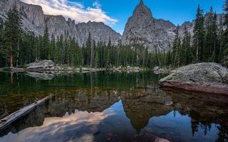 Бесплатные фото озеро,коряга,камни,деревья,лес,горы,скалы