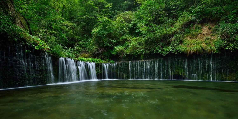 Обои водопад, водоём, лес, деревья, пейзаж картинки на телефон