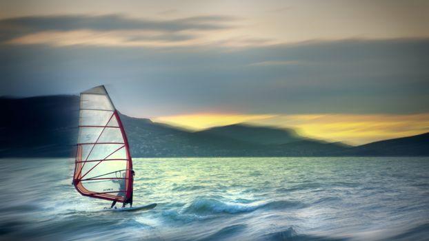 Фото бесплатно парусник, ветер, волны