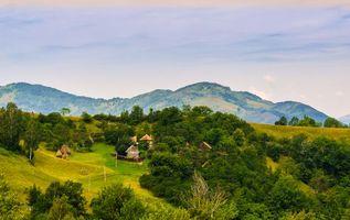 Фото бесплатно холмы, Румыния, дома