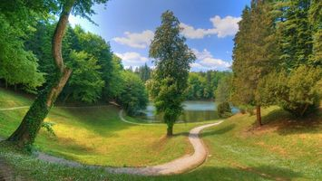 Бесплатные фото тропинка,трава,деревья,река,небо,облака