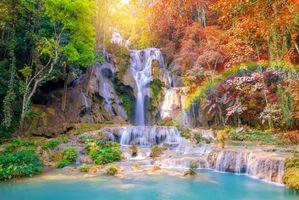 Бесплатные фото Autumn, Tat Kuang Si Waterfalls, Laos, осень, водопад, каскад, водопады