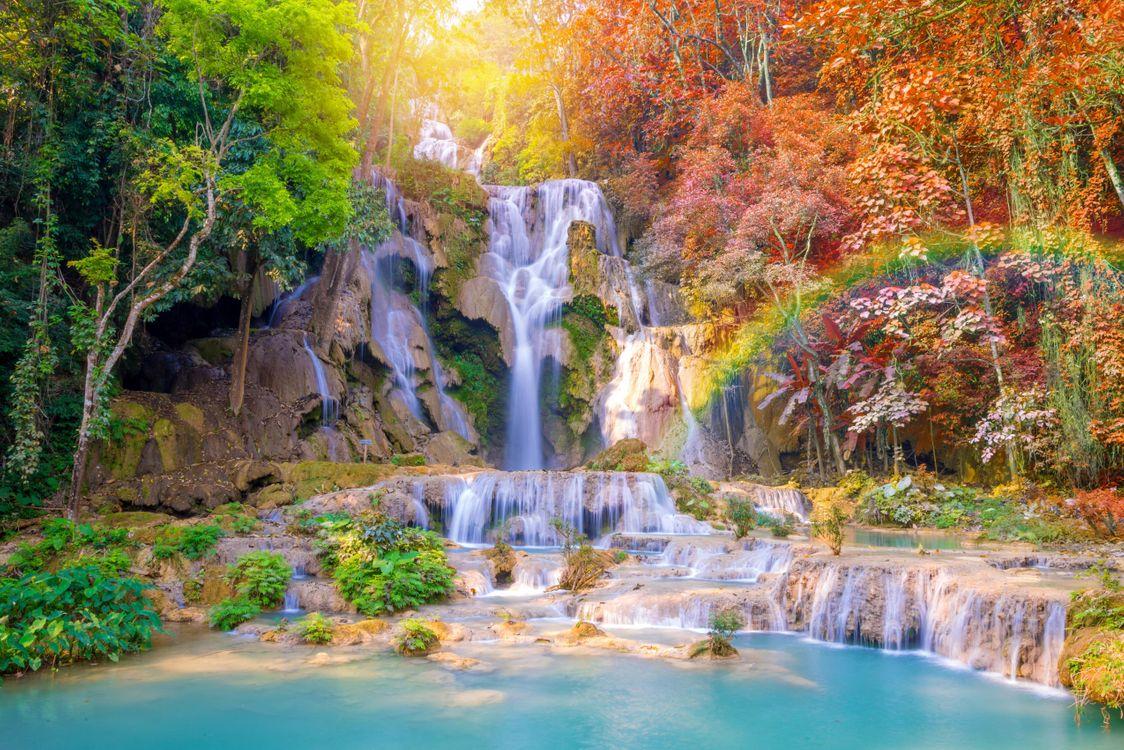 Фото бесплатно Autumn, Tat Kuang Si Waterfalls, Laos, осень, водопад, каскад, водопады, скалы, водоём, лес, деревья, пейзаж, пейзажи