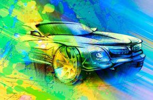 Заставки автомобиль, машина, сине-желтый, цвет, абстракция, art