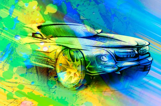 Photo free car, blue-yellow, color