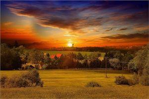 Бесплатные фото Браунсдорф,Германия,закат,поле,дома,деревья,пейзаж
