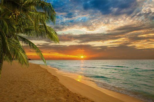 Фото бесплатно закат солнца, пляж, океан