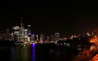 Заставки река, ночь, огни