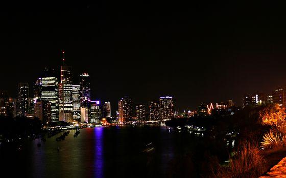 Фото бесплатно река, ночь, огни