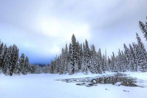 Заставки Изумрудное озеро,Национальный парк Йохо,Британская Колумбия,Канада,зима,пейзаж