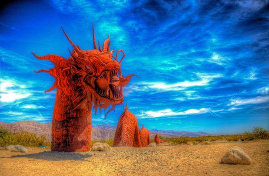 Бесплатные фото Песчаная Змея на солнце,Художественная ковка скульптура Ricardo Breceda,фантастика