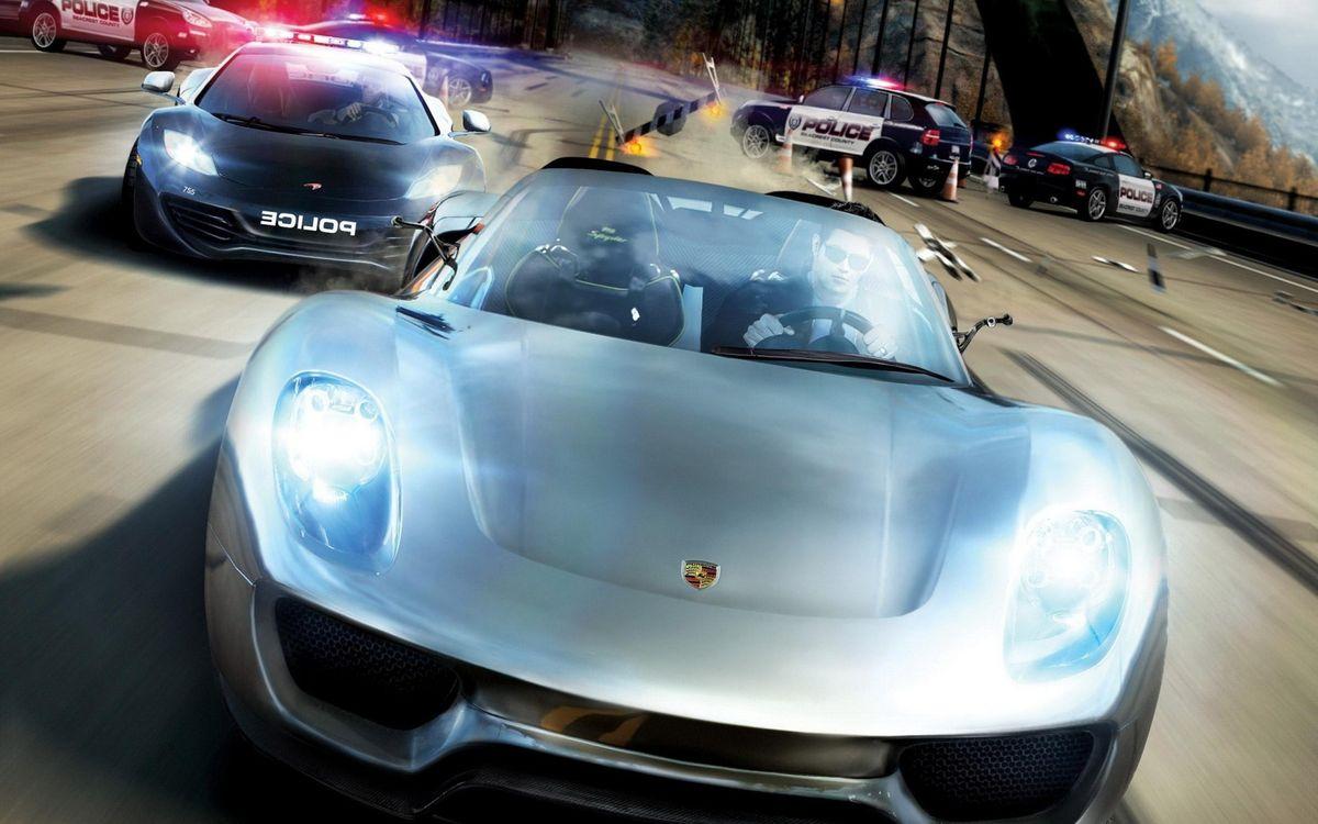 Фото бесплатно машины, полиция, трасса, скорость, погоня, гонка, игры