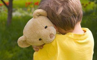 Заставки ребенок,мальчик,игрушка,медведь плюшевый,объятия