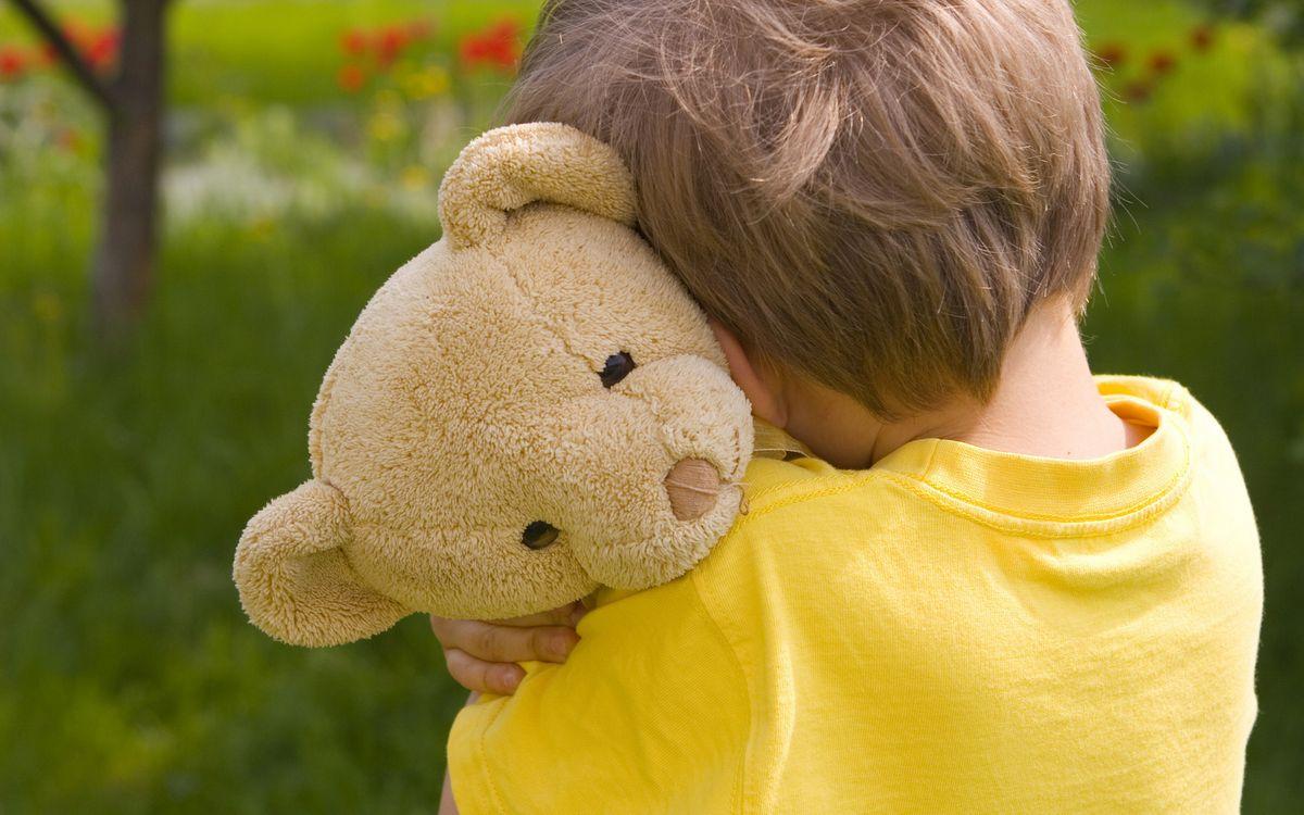 Фото бесплатно ребенок, мальчик, игрушка, медведь плюшевый, объятия, разное