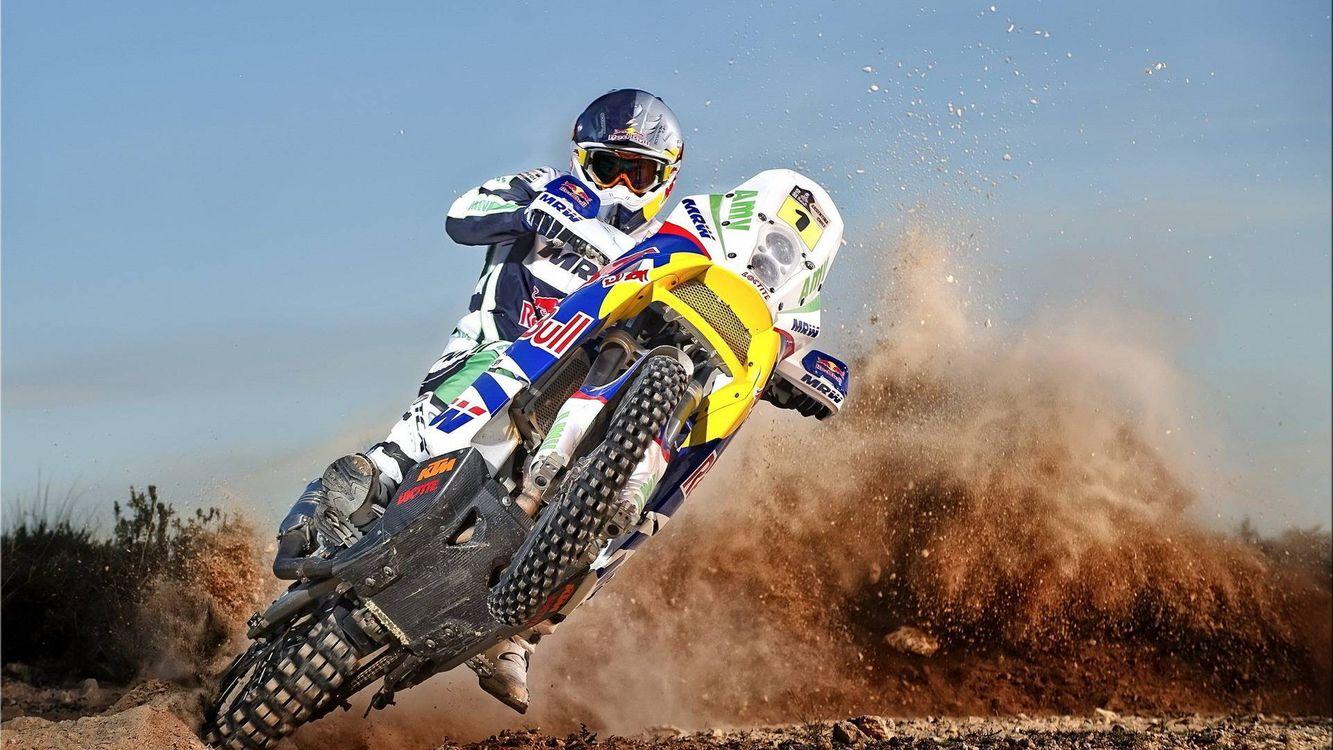 Фото бесплатно мотокросс, мотоцикл, пески - на рабочий стол