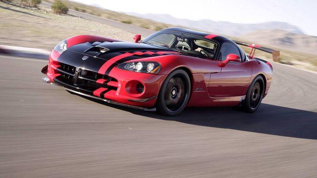 Photo free Dodge Viper, red, black stripe