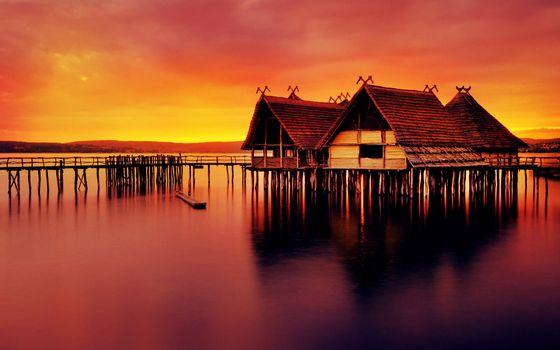 Фото бесплатно озеро, сваи, мостик