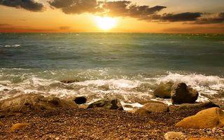 Бесплатные фото берег, камни, море, волны, горизонт, небо, солнце